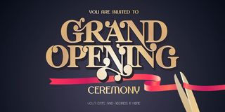 La cinta y las tijeras rojas diseñan el elemento para la tarjeta de la invitación a la ceremonia de gran inauguración libre illustration