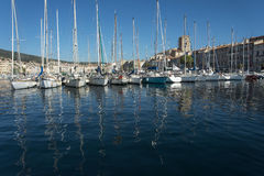La Ciotat Boats reflections harbour stock image