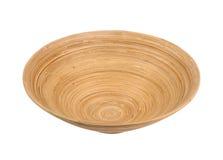 La ciotola di bambù di legno ha isolato Fotografie Stock Libere da Diritti