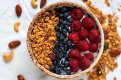 La ciotola di granola casalingo con yogurt e le bacche fresche si chiudono su Fotografia Stock Libera da Diritti