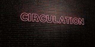 La CIRCOLAZIONE - insegna al neon realistica sul fondo del muro di mattoni - 3D ha reso l'immagine di riserva libera della sovran illustrazione di stock