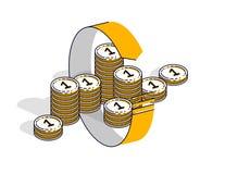 La circulaci?n del dinero, rentabilidad de la inversi?n, intercambio de moneda, devoluci?n de efectivo, reembolso del dinero, con ilustración del vector