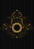 La circulaire d'or de vintage a modelé le cadre avec le modèle floral à jour Image stock
