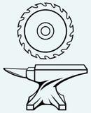 La circulaire scie la lame et l'enclume illustration de vecteur