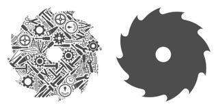 La circulaire a vu la mosaïque des outils de service illustration libre de droits