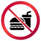 La circular, ` ninguna comida permitió la muestra del ` Muestra roja de la pendiente, bebida negra y silueta de la hamburguesa ilustración del vector