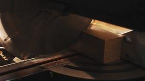 La circular vio el tablón del corte de la madera en taller del carpintero metrajes