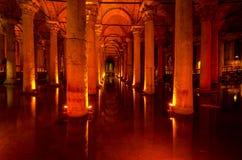 La cisterna della basilica a Costantinopoli immagini stock libere da diritti