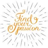 La cita de la motivación encuentra su pasión Elemento dibujado mano FO del diseño stock de ilustración