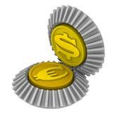 La cita del dólar americano y de la moneda europea Imágenes de archivo libres de regalías
