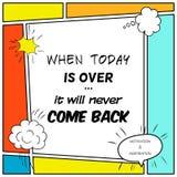 La cita inspirada y de motivación se dibuja en un estilo cómico stock de ilustración