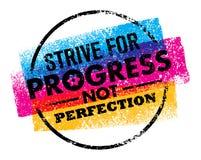 La cita inspiradora de la motivación con el texto se esfuerza para la perfección del progreso no Concepto de diseño del cartel de libre illustration
