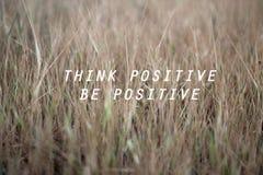 La cita positiva sea positiva hoy Elija la positividad fotografía de archivo libre de regalías