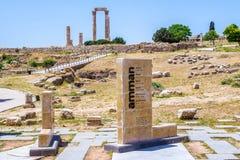 La citadelle d'Amman, en Jordanie Photographie stock libre de droits