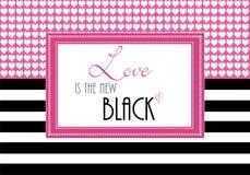 La citation inspirée ou la salutation affectueuse, amour est le nouveau noir, illustration de papier peint illustration libre de droits