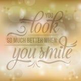 La citation inspirée positive de la vie sur le jaune a brouillé le fond Photo stock