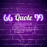 La citation rougeoyante de rétro néon marque le cadre sur le mur illustration stock