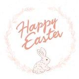 La citation tirée par la main de salutation de lettrage de Pâques de vecteur avec le lapin a entouré la bordure de composition av Photos stock