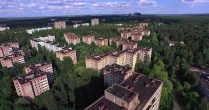 La città abbandonata di Pripyat vicino a Cernobyl (antenna, 4K) stock footage