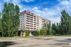 La città abbandonata di Pripyat (zona di esclusione di Cernobyl) immagini stock