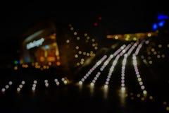 La città accende il fondo vago bokeh Fotografia Stock