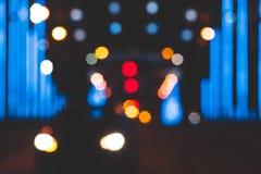 La città accende il grande bokeh circolare astratto su fondo scuro Fotografie Stock