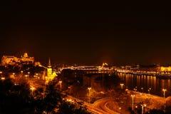La città alla notte a Budapest Immagini Stock Libere da Diritti