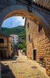 La città antica di pietra di terracotta su un fondo delle montagne verde intenso è sommersa da luce solare immagini stock libere da diritti