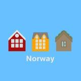 La città avvista Alesund e Bergen Punto di riferimento della Norvegia Elementi piani della natura di viaggio royalty illustrazione gratis