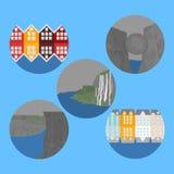 La città avvista Alesund e Bergen Punto di riferimento della Norvegia Elementi piani della natura di viaggio Roccia del quadro di illustrazione di stock