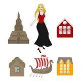 La città avvista le icone Punto di riferimento della Norvegia Elementi piani di viaggio Alesund, Bergen ed Oslo Roccia del quadro illustrazione di stock