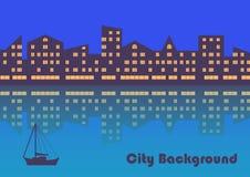 La città con illuminazione di sera sottragga la priorità bassa royalty illustrazione gratis