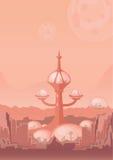 La città del futuro, una colonia dello spazio Insediamento umano con le costruzioni futuristiche su Marte Illustrazione di vettor illustrazione di stock