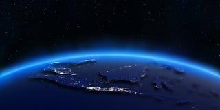 La città dell'Indonesia accende la mappa Fotografie Stock