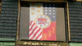 La città della bandiera di Detroit stock footage