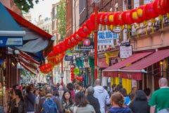 La città della Cina è decorata dalle lanterne cinesi Londra, Regno Unito Immagini Stock