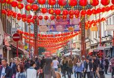 La città della Cina è decorata dalle lanterne cinesi Londra, Regno Unito Immagine Stock Libera da Diritti