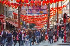 La città della Cina è decorata dalle lanterne cinesi Londra, Regno Unito Immagini Stock Libere da Diritti