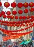 La città della Cina è decorata dalle lanterne cinesi Londra, Regno Unito Fotografia Stock