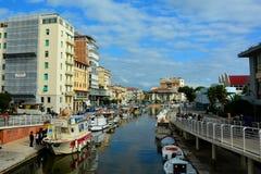 La città della spiaggia di Viareggio, Italia immagini stock