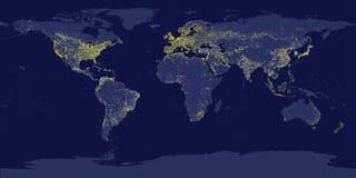 La città della terra accende la mappa con le siluette dei continenti illustrazione vettoriale