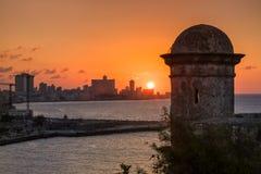La città di Avana al tramonto Fotografia Stock