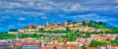La città di Bergamo a Bergamo alta Fotografia Stock
