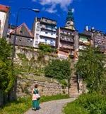 La città di Bystrzyca Klodzka Fotografie Stock Libere da Diritti