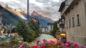 La città di Chamonix-Mont-Blanc, alpi francesi, Francia Immagini Stock Libere da Diritti
