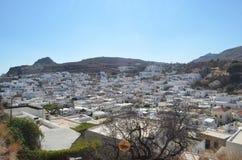 La città di Lindos sull'isola di Rodi in Grecia Fotografie Stock