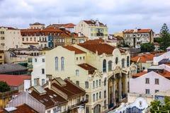 La città di Lisbona alloggia la vista, Portogallo Immagini Stock