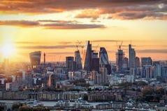 La città di Londra, hub finanziario del Regno Unito Fotografia Stock Libera da Diritti
