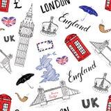 La città di Londra scarabocchia il modello senza cuciture degli elementi Fotografie Stock