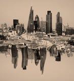 La città di Londra una dei centri principali della vista globale di finance Questa vista include il cetriolino della torre 42, Wi Immagini Stock Libere da Diritti